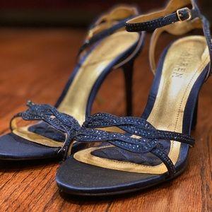 NWOT Ralph Lauren Navy Silk Stiletto Heels